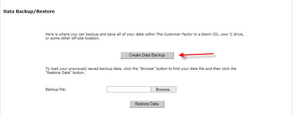 backup data in the customer factor