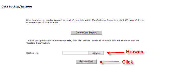 Restore customer factor data