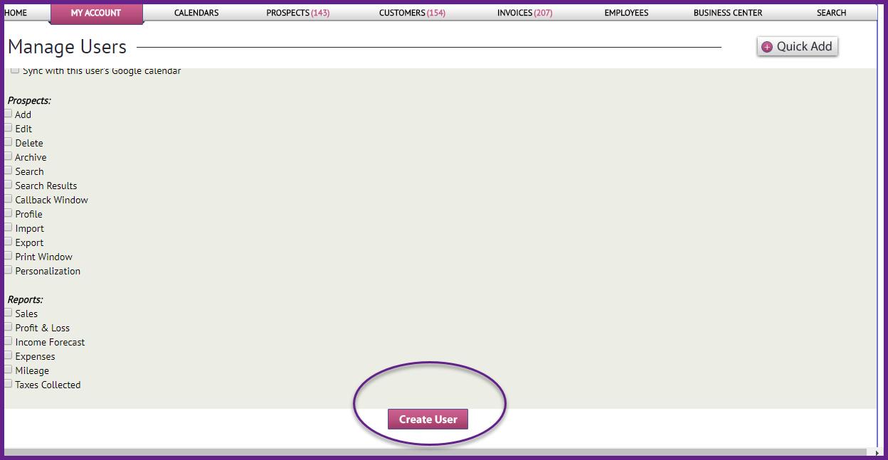 create user buton