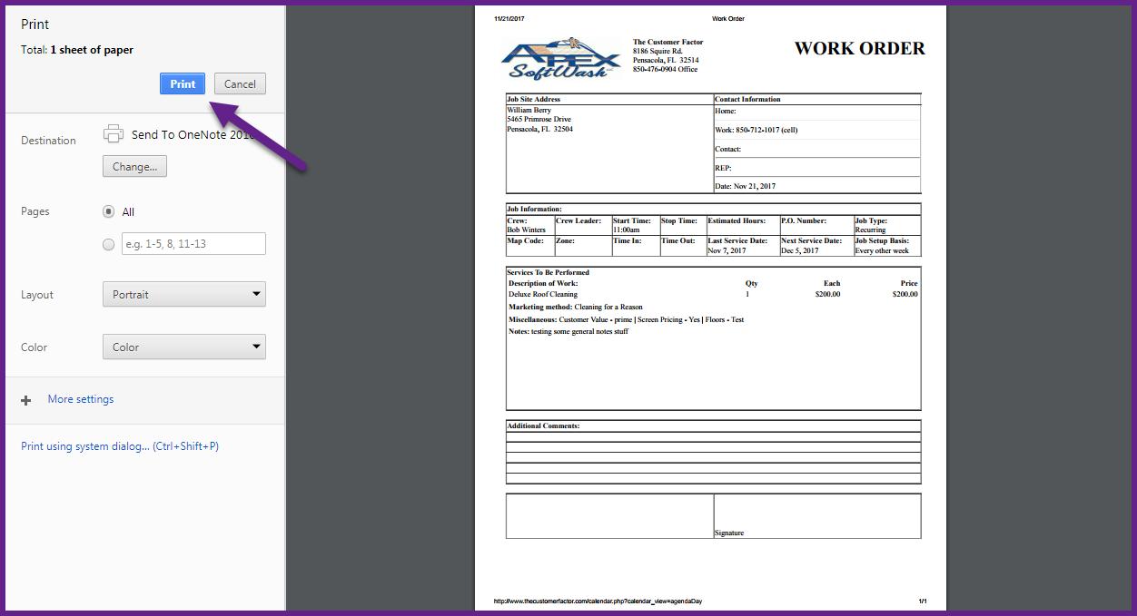 work order printed