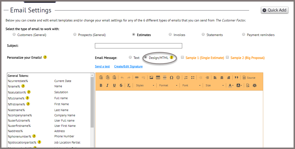 Step Creating Estimate Email Template The Customer Factor - Estimate email template
