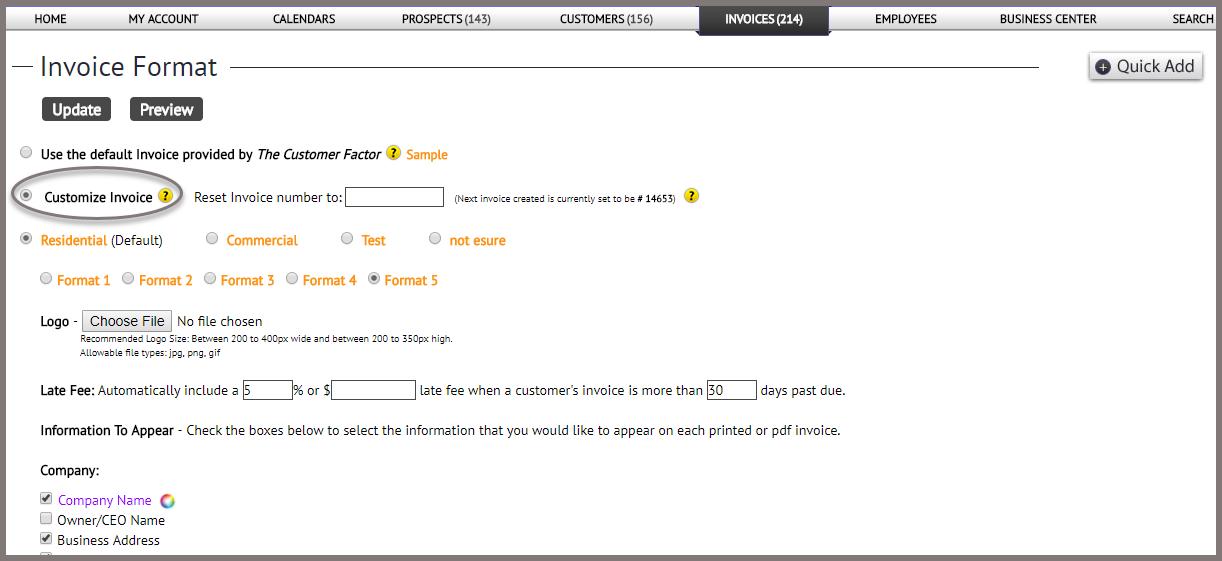 invoice format