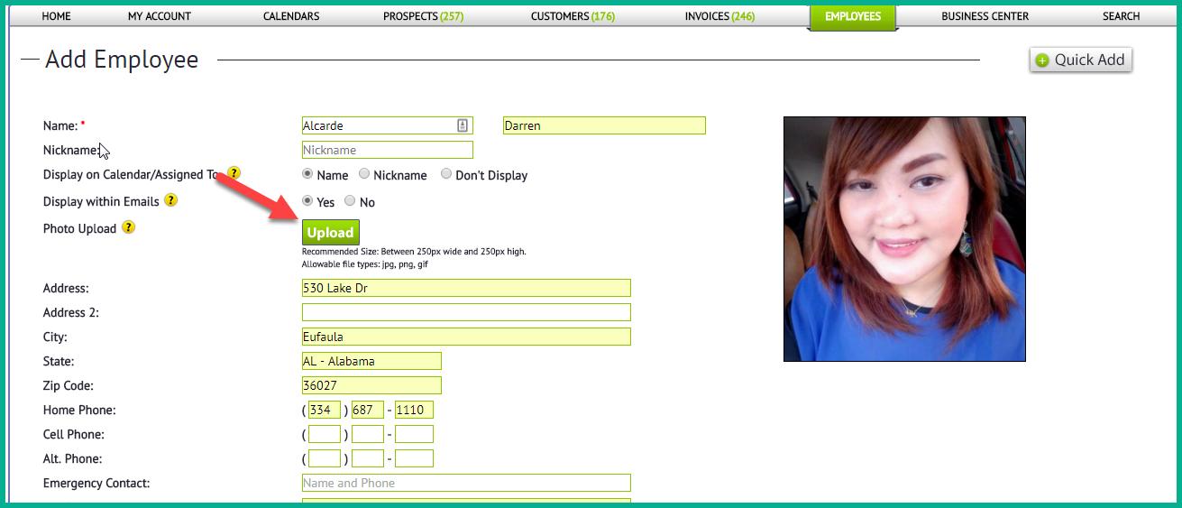 employee screen